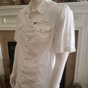 HELIX Short Sleeve Pearl Snap Button Up Shirt